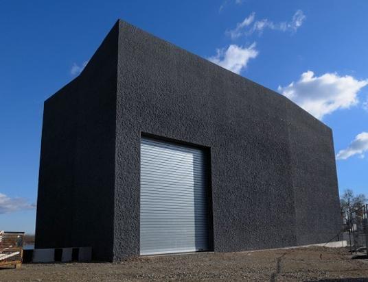 hochwasserpumpwerk in mainz schwarzer monolith objekte. Black Bedroom Furniture Sets. Home Design Ideas