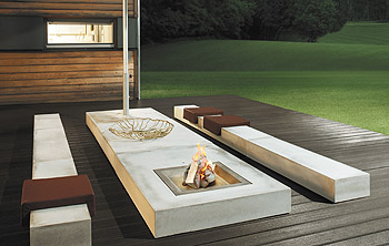 feuerstelle design garten beton stahl holz m bel kies pictures to pin on pinterest. Black Bedroom Furniture Sets. Home Design Ideas